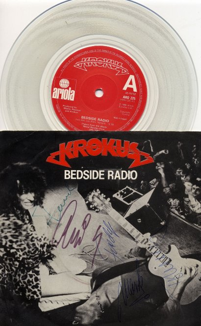 Bedside Radio International 45 single cover with clear vinyl record