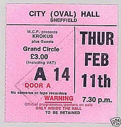 Concert Ticket stub UK