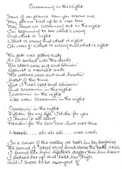 Screaming In The Night Lyrics