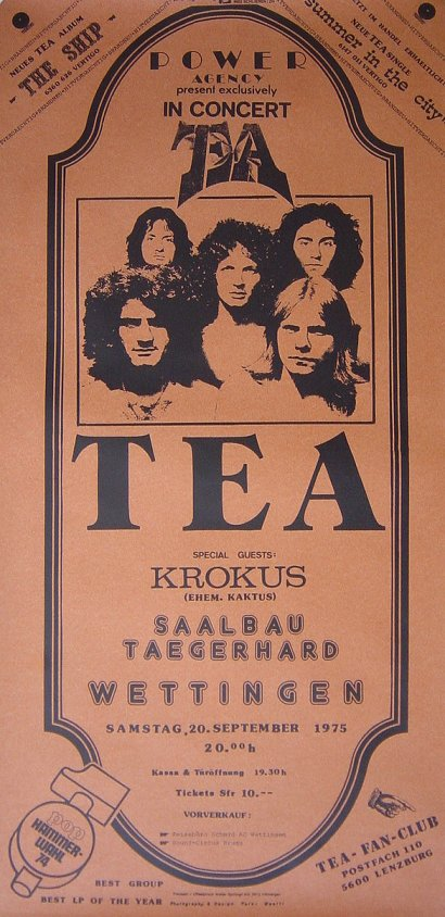 TEA Tour Poster With KROKUS As Support 1975
