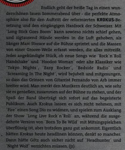 'Rock Hard' Magazine Concert Review