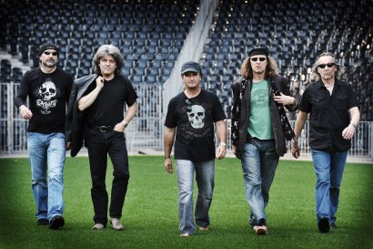 Krokus on the lawn of famous football stadium