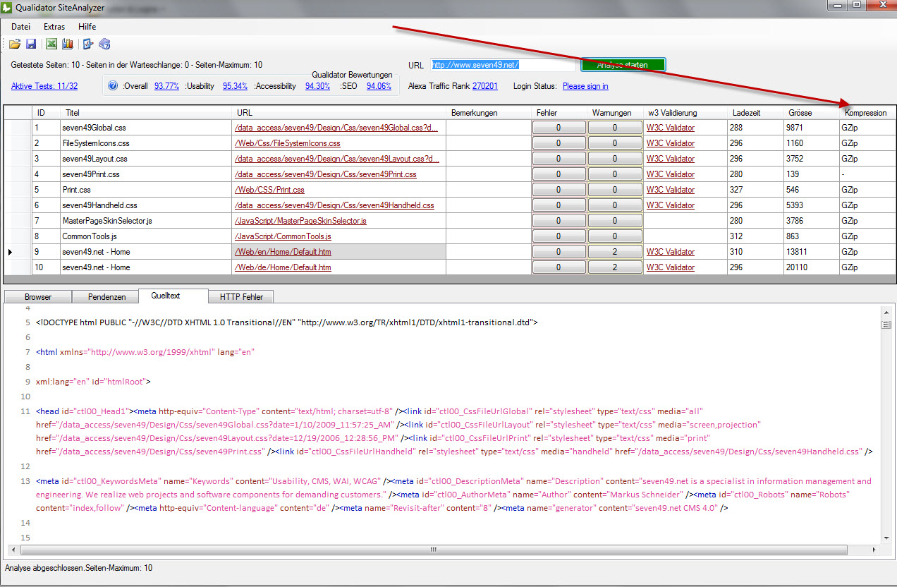 Zoom: Screenshot SiteAnalyzer HTTP Kompressionstest